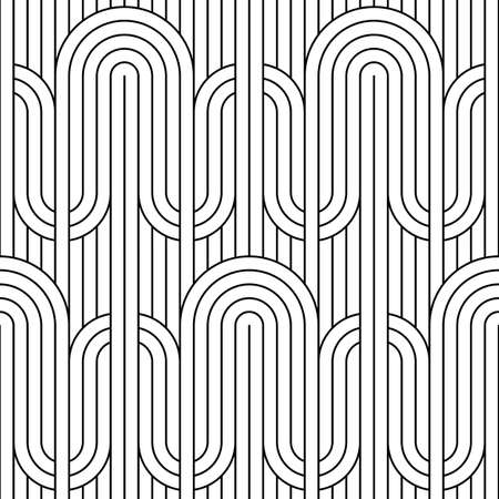 Vector seamless line pattern. Stylish graphic texture. Endless striped monochrome background with linear elements. 向量圖像