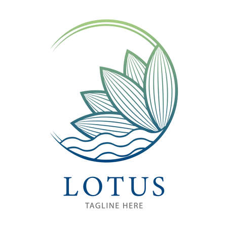 Lotus flower logo template. Sign for Wellness, Spa and Yoga. Vector Illustration 向量圖像