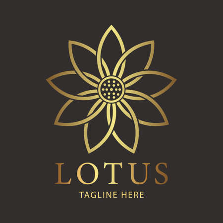 Lotus luxury flower golden logo template. Sign for Wellness, Spa and Yoga. Vector Illustration