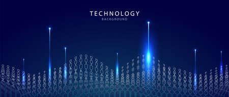 Big data visualization technology. Technological background. Futuristic horizon with blue light Vector. 矢量图像