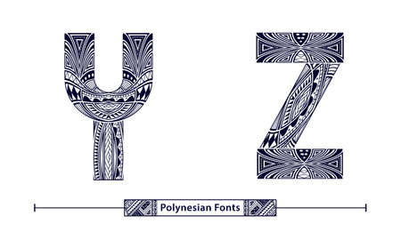 Vector graphic alphabet in a set Y,Z, with Polynesian Tattoo ethnic tribal font style