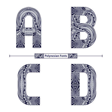 Vector graphic alphabet in a set A,B,C,D, with Polynesian Tattoo ethnic tribal font style
