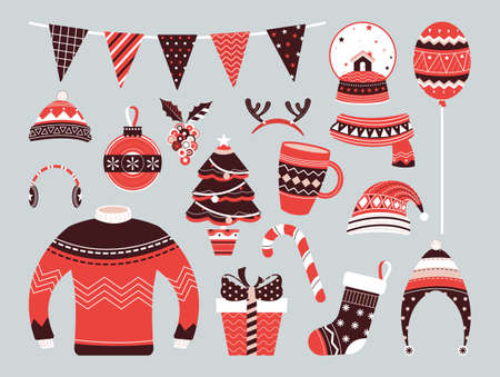 Collection of Vintage Merry Christmas And Happy New Year. Vector illustration.