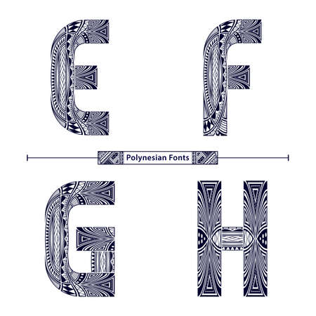 Vector graphic alphabet in a set E,F,G,H, with Polynesian Tattoo ethnic tribal font style