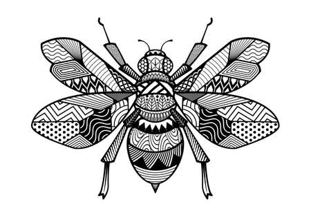 Abstract Bees hand drawn design. vector animal isolated on a white background.