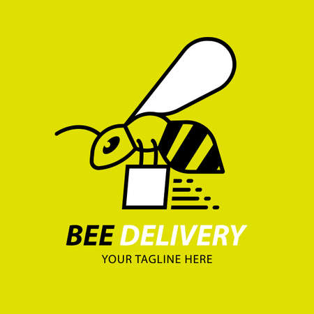 Bees Delivery Logo Design Element. Fast Delivery Express packet Icon Vector.