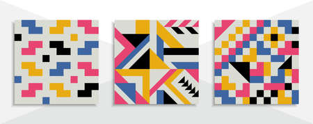 Set of geometric backgrounds with trendy design. vector cover template. 向量圖像