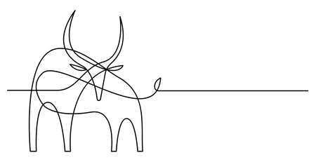 Continuous line bull drawing style. Vector illustration. 向量圖像
