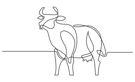 Continuous line Chinese new year 2021 year of the cow. Trendy one line draw design vector illustration.