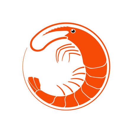 Shrimp logo in flat style, fresh sea food. Isolated on white background. Vector illustration.