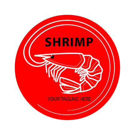 Shrimp linear logo in flat style, fresh sea food. Isolated on white background. Vector illustration.