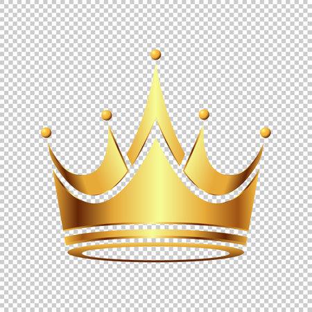 Luxury Golden Crown symbol icon template. Vintage logo Isolated Transparent Background. Geometric symbol Logotype concept Vector illustration.