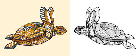 Coloring book The Turtle. Educational for adult. Hand drawn tattoo Vector illustration.