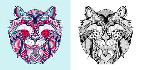 Coloring book The Fox head. Educational for adult. Hand drawn tattoo Vector illustration. 向量圖像