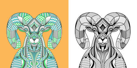 Coloring book The Big horn sheep head. Educational for adult. Hand drawn tattoo Vector illustration. 向量圖像