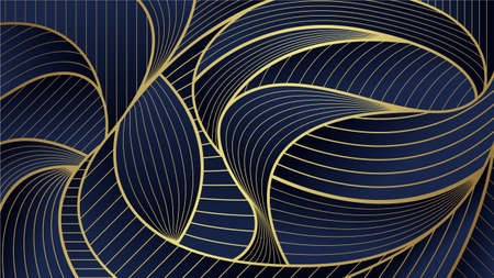 Abstract Golden wave Lines Pattern Blue Background. Art deco ventor.