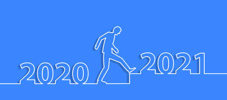 Man walking from 2020 to 2021. Vector illustration line  design layout template.