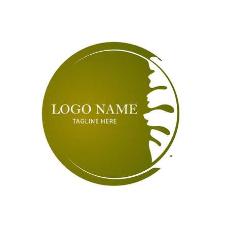 Organic leaves Circle vector. Oak Leaf logo design template