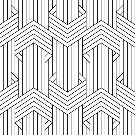 Abstract simple geometric vector seamless pattern with black line texture on white background.