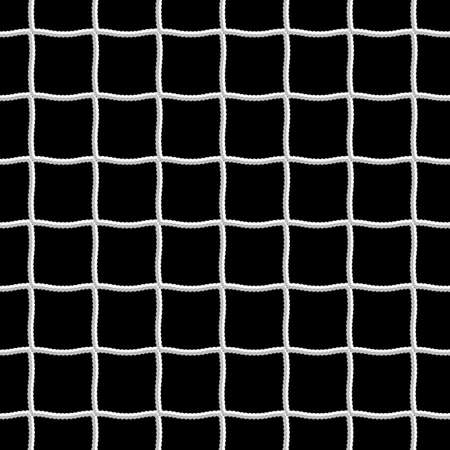 Soccer White Net in Black background as Design Element. Rope net pattern vector.