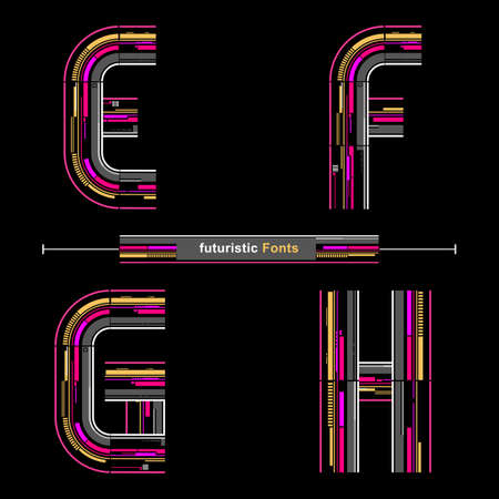 Vector graphic alphabet in a set E,F,G,H, with Abstract futuristic modern Font. Typography design for posters, logos, cover, etc. Stock Illustratie