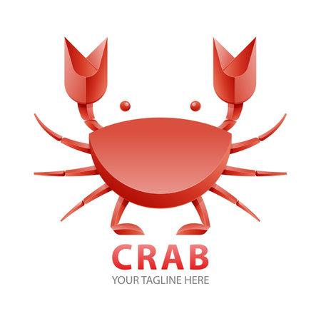 Red Crab gradient logo concept. seafood icon design concept vector.