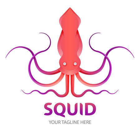 Squid gradient logo concept. seafood icon design concept vector.