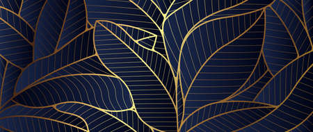 Luxury golden leaf and natural. Art Deco Pattern, Linear wave background texture for print, fabric, packaging design, invite.