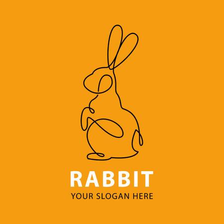 One line rabbit logo template. Hand drawn minimalism style vector illustration. Stock Illustratie