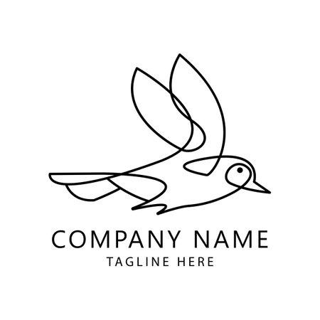 One line Bird logo template. Hand drawn minimalism style vector illustration.