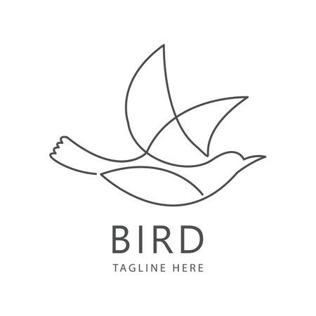 One line bird logo template. Hand drawn minimalism style vector illustration. Stock Illustratie