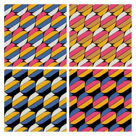 Seamless vector geometric pattern set. Simple lines stripe graphic design vector. Stock Illustratie