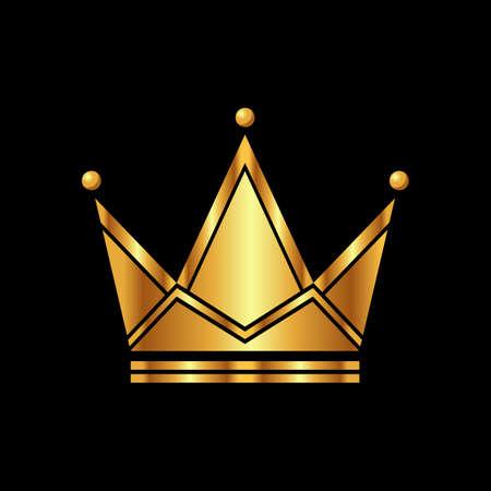 Golden Crown symbol icon template. Vintage logo on black background. Geometric symbol Logotype concept Vector illustration. 矢量图像