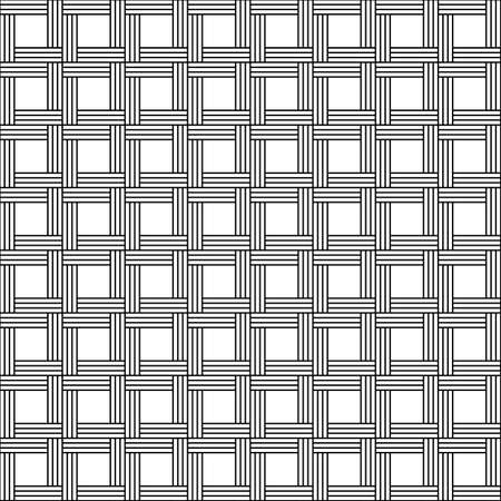 Abstract geometric leaf pattern with stripes. basket weave seamless vector background. Black and white texture.