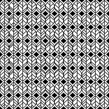 Abstract geometric leaf pattern with stripes. seamless vector background. Black and white texture. Stock Illustratie