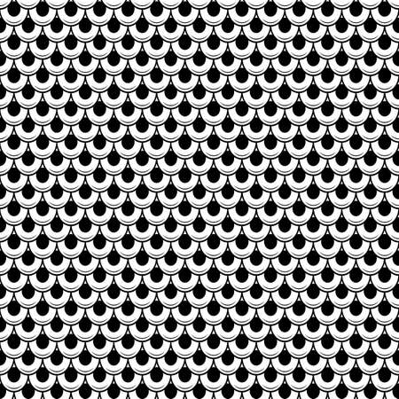 Abstract rounded pattern with stripes. seamless vector background. Black and white texture.