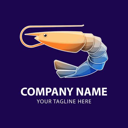 Shrimp animals gradient logo icon. Vector of seafood design on blue background