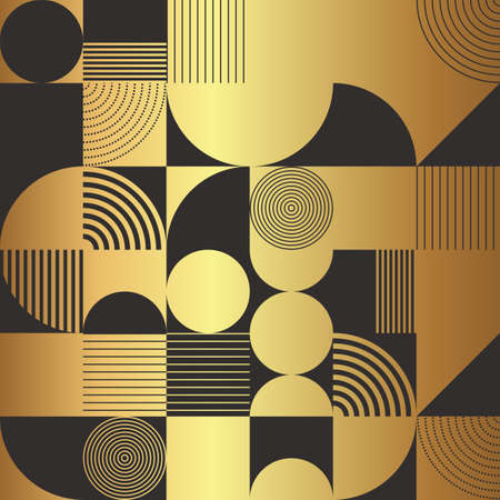 Art Deco style seamless pattern shape golden motifs on black background. Geometric abstract texture vector pattern. Stock Illustratie
