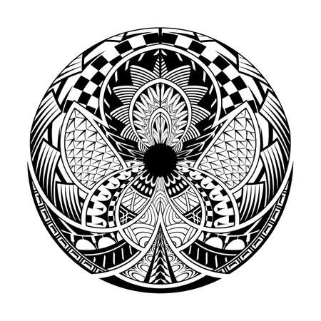 Black and white striped circles lines design. tattoo vector.