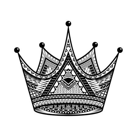 King Crown Vector Illustration hand drawn on white background. Element for design logo, emblem and tattoo. Stock Illustratie