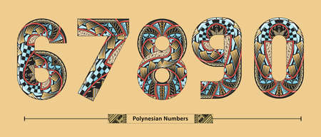 Vector graphic numbers in a set 6,7,8,9,0, with Polynesian Tattoo ethnic tribal font style