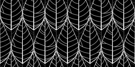 Tropical leaves seamless pattern. Floral organic background. Hand drawn leaf texture. Vector illustration. 矢量图像