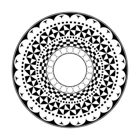 Maori circle tattoo shape, Ancient Greek round design pattern polynesian mandala vector