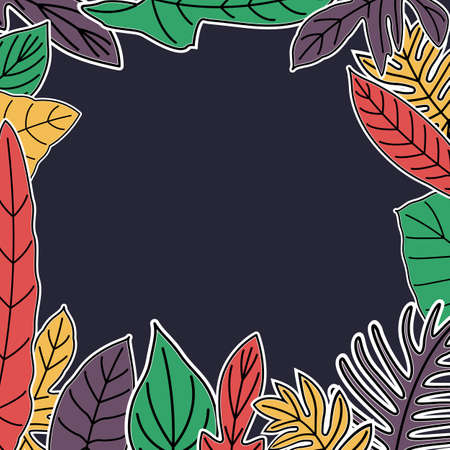 Hand drawn leaves of tropical plants. Vintage tropic frame design. colorful seamless texture.
