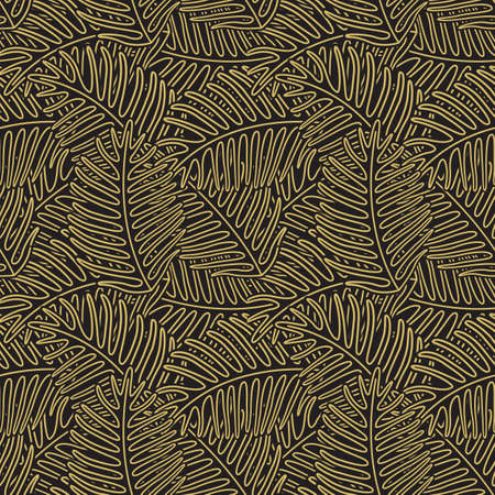 Hand drawn leaves of tropical plants. Vintage tropic pattern design. Black and white seamless texture.