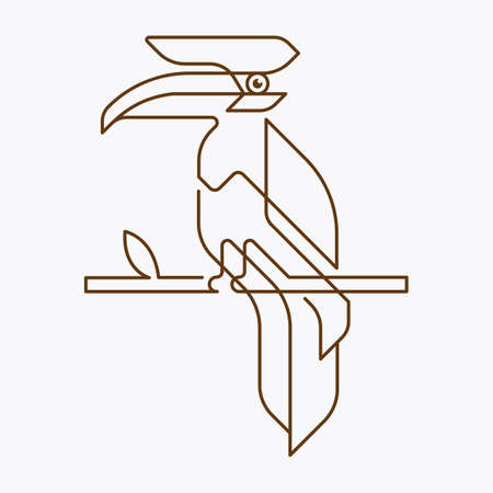 Geometric minimal line style hornbill logo. Can be used as a sticker, icon, logo, design template. drawing vector illustration. 矢量图像