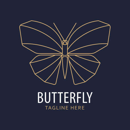 Geometric minimal line style butterfly logo. Can be used as a sticker, icon, logo, design template. drawing vector illustration.