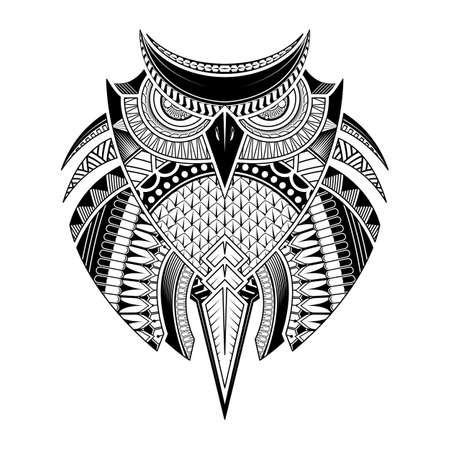 Vector hand drawn Owl. Black and white tattoo. Ethnic, poster, print, t-shirt. 矢量图像