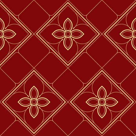 Vector modern geometric tiles pattern. golden lined shape. Abstract line thai seamless luxury background. 矢量图像