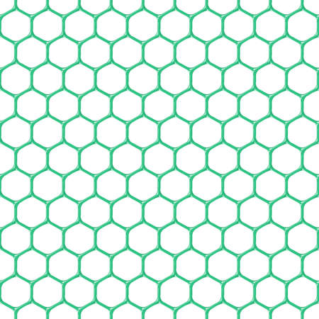 Plastic green mesh seamless structure. Hexagon isolated on white background. Vector illustration. EPS 10.